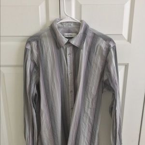 Calvin Klein gray button down shirt